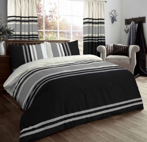 STRIPED 3 TONE STYLISH REVERSIBLE PRINT BEDDING DUVET COVER SET BLACK GREY CREAM